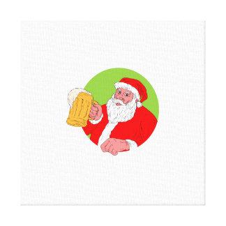 Santa Claus Drinking Beer Drawing Canvas Print