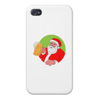Santa Claus Drinking Beer Drawing iPhone 4 Covers