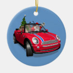 Santa Claus Driving A Mini Christmas Tree Ornaments