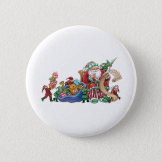 Santa Claus, Elves and Toys for Christmas Button