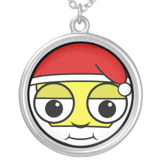 Santa Claus Face Silver Plated Necklace