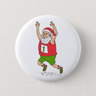 Santa Claus Father Christmas Running Marathon Cart 2 Inch Round Button