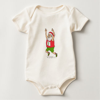 Santa Claus Father Christmas Running Marathon Cart Baby Bodysuit