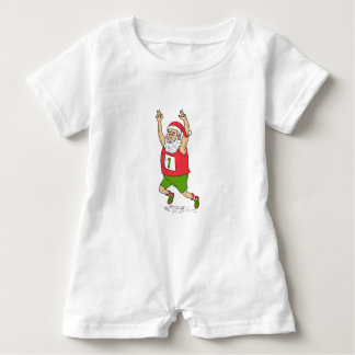 Santa Claus Father Christmas Running Marathon Cart Baby Romper