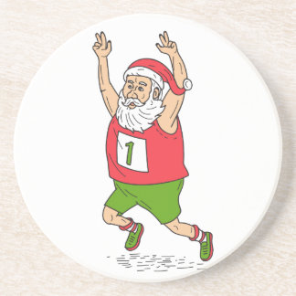 Santa Claus Father Christmas Running Marathon Cart Coasters