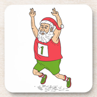 Santa Claus Father Christmas Running Marathon Cart Drink Coaster