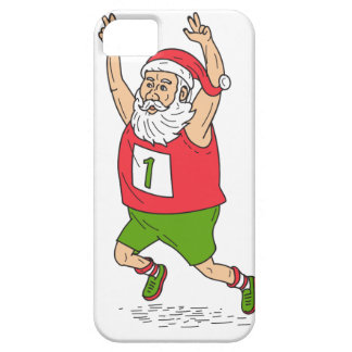 Santa Claus Father Christmas Running Marathon Cart iPhone 5 Covers