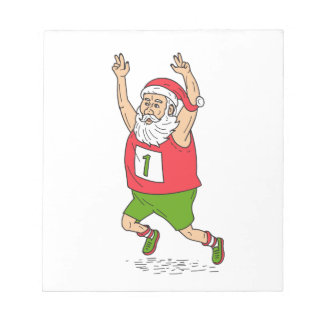 Santa Claus Father Christmas Running Marathon Cart Notepad