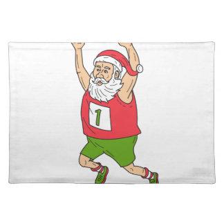 Santa Claus Father Christmas Running Marathon Cart Placemat