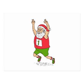 Santa Claus Father Christmas Running Marathon Cart Postcard