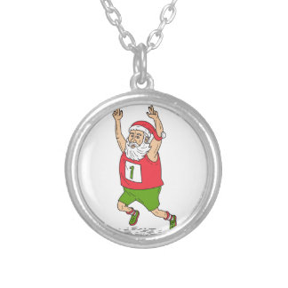 Santa Claus Father Christmas Running Marathon Cart Silver Plated Necklace