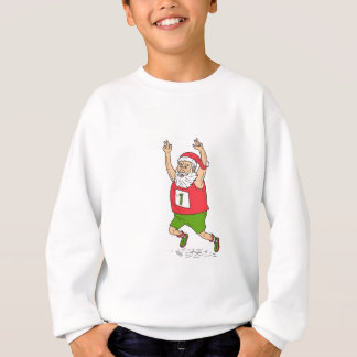 Santa Claus Father Christmas Running Marathon Cart Sweatshirt