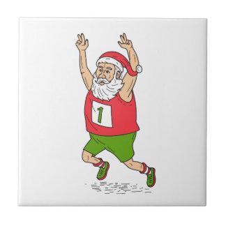 Santa Claus Father Christmas Running Marathon Cart Tile