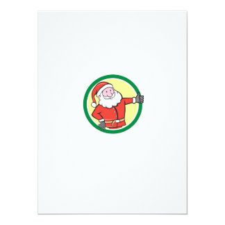 Santa Claus Father Christmas Thumbs Up Circle Cart Announcement
