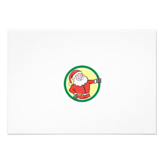 Santa Claus Father Christmas Thumbs Up Circle Cart Personalised Announcement
