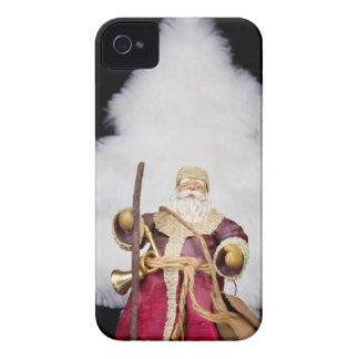 Santa Claus figurine white christmas tree on black iPhone 4 Case-Mate Cases