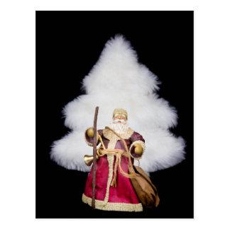 Santa Claus figurine white christmas tree on black Postcard