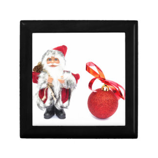 Santa Claus figurine with red christmas ball Trinket Box