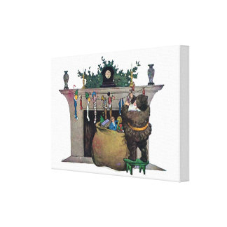 Santa Claus Filling The Stockings Stretched Canvas Print