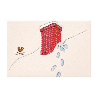 Santa Claus Footprints Chimney Snow Weathervane Canvas Print