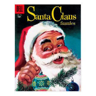 Santa Claus Funnies - Decorating the Tree Postcard
