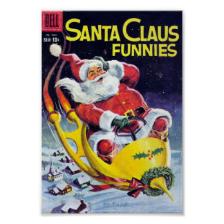 Santa Claus Funnies - Rocket Sled Poster