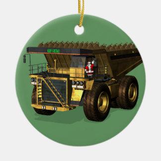 Santa Claus Giant  Dump Truck Driver Ceramic Ornament