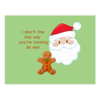Santa Claus & Gingerbread Boy Postcard