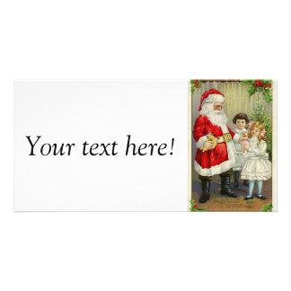 Santa Claus giving gifts to children vintage illus Custom Photo Card