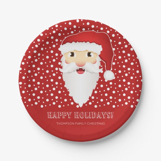Santa Claus Head Custom Event Name Red Christmas Paper Plate