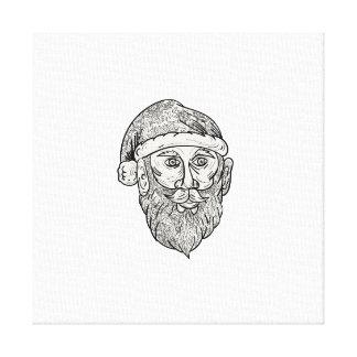 Santa Claus Head Mandala Canvas Print