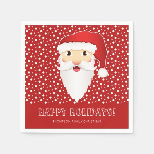 Santa Claus Head On Red & Custom Name Christmas Disposable Napkins