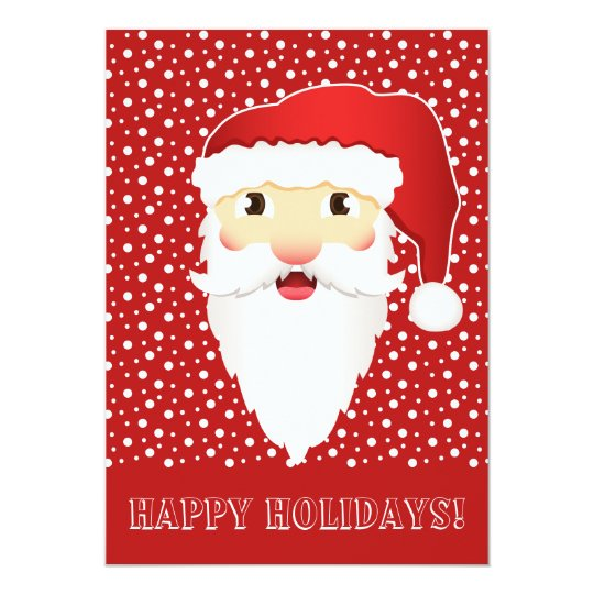 Santa Claus Head On Red Happy Holidays Card