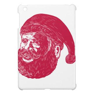 Santa Claus Head Woodcut Cover For The iPad Mini