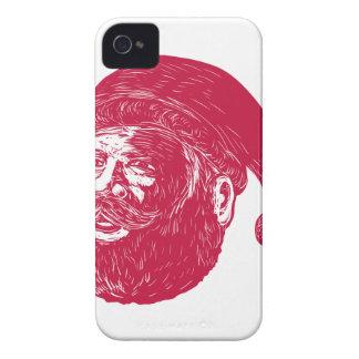 Santa Claus Head Woodcut iPhone 4 Covers