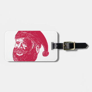 Santa Claus Head Woodcut Luggage Tag