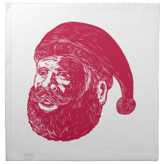 Santa Claus Head Woodcut Napkin