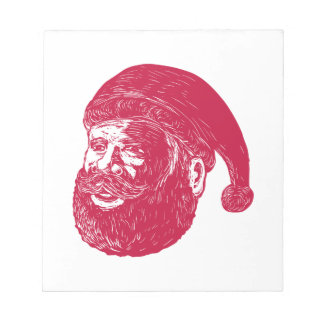Santa Claus Head Woodcut Notepad