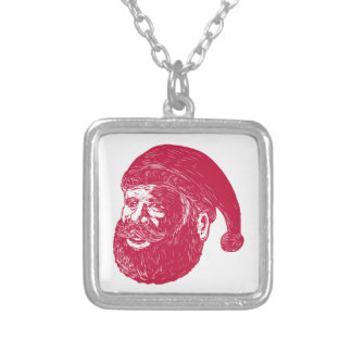 Santa Claus Head Woodcut Silver Plated Necklace