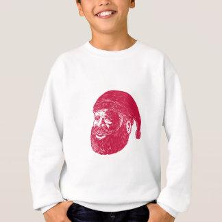 Santa Claus Head Woodcut Sweatshirt