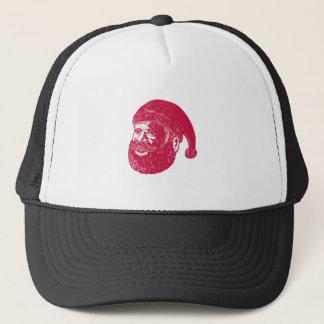 Santa Claus Head Woodcut Trucker Hat