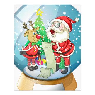 Santa Claus holding a list inside the snow ball wi Custom Letterhead