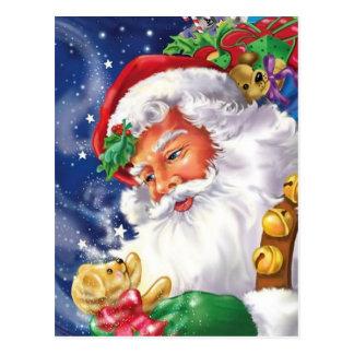 Santa Claus Holding A Teddybear Postcard