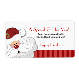 Santa Claus Holiday Baking / Cookie Sticker Shipping Label