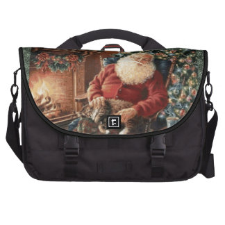 Santa Claus Holiday Christmas red green Laptop Messenger Bag
