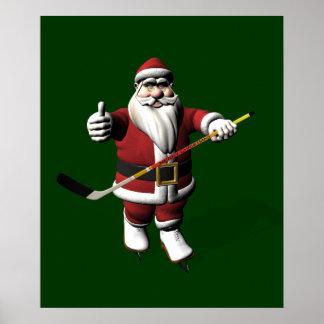 Santa Claus Ice Hockey Player Poster