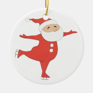 Santa Claus ice-skating {ornament} CUSTOMIZE Ceramic Ornament