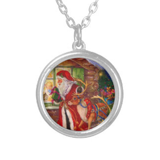 Santa claus illustration - christmas illustrations silver plated necklace