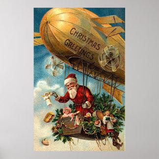 Santa Claus in Airship Poster