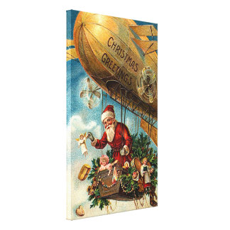Santa Claus in Airship Stretched Canvas Prints